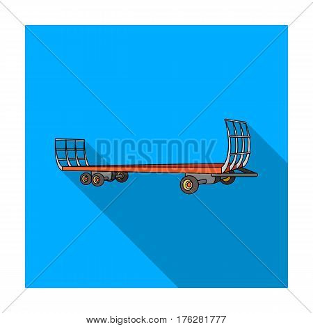 Specialized trailer on wheels for trucks for transportation of hay bales.Agricultural Machinery single icon in flat style vector symbol stock web illustration.