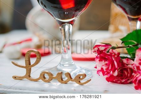 Love Letters On Wine Background On Valentine's Day Celebration