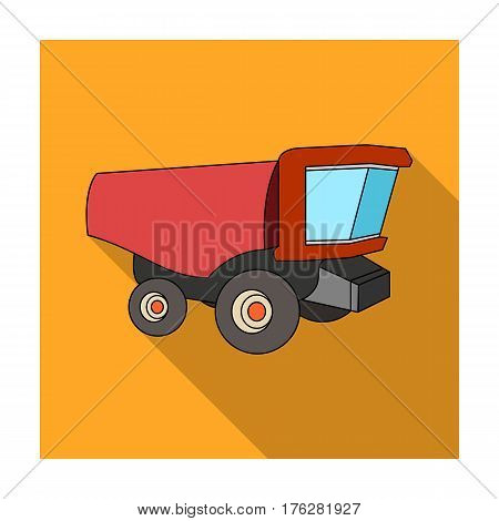 Truck with a large windshield. Agricultural Machine for  of cut plants.Agricultural Machinery single icon in flat style vector symbol stock web illustration.