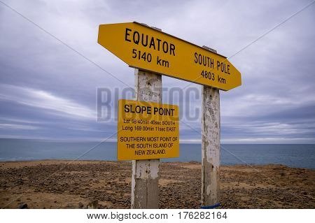 Slope Point, the most southern place in New Zealand