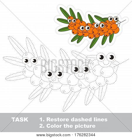 Page to be traced. Easy educational kid game. Simple game level. Gaming and education. Tracing worksheet for Buckthorn branch.