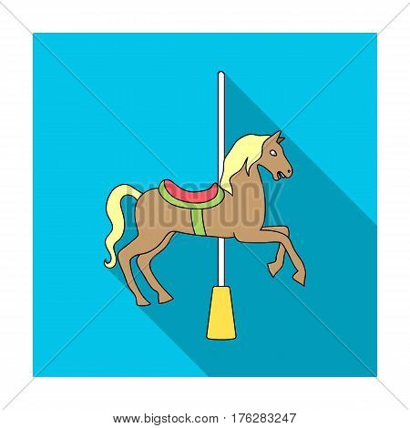 Carousel for children. Horse on the pole for riding.Amusement park single icon in flat style vector symbol stock web illustration.