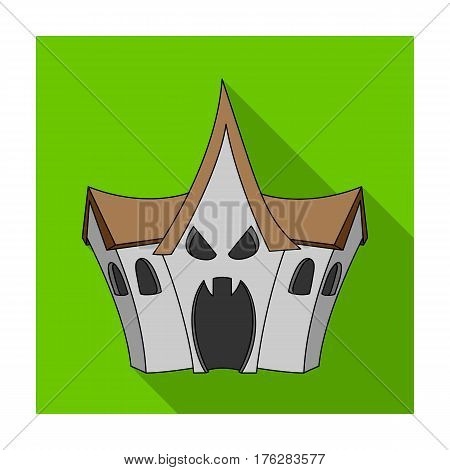 A haunted house, a room of fear in an amusement park. Attraction for the fearless.Amusement park single icon in flat style vector symbol stock web illustration.
