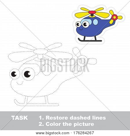 Funny helicopter in vector to be traced. Easy educational kid game. Simple level of difficulty. Restore dashed line and color the picture. Trace game for children.
