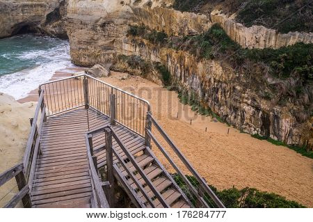 Staircase leading to beach near Loch Ard Gorge on Great Ocean Road, Victoria, Australia