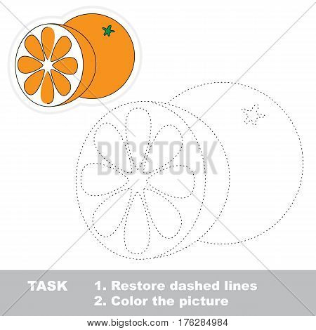 Orange and orange slice in vector to be traced. Restore dashed line and color the picture. Tracing game for preschool children, easy game level.
