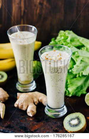 Vegetarian Drink - Ginger Smoothie With Banana And Kiwi.