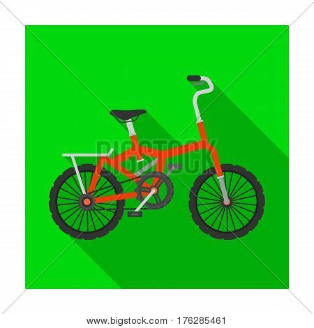 Little orange children s bicycle. Bicycles for children and a healthy lifestyle.Different Bicycle single icon in flat style vector symbol stock web illustration.