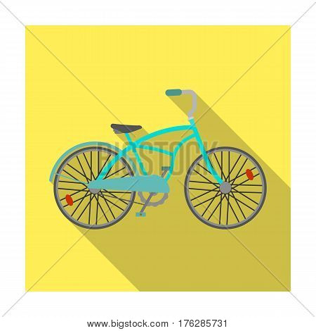 Blue two-wheeled bicycle for a ride through the city. Pleasure of transport.Different Bicycle single icon in flat style vector symbol stock web illustration.