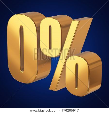 Gold zero percent on blue background. 3d render illustration.