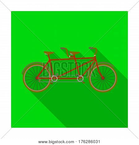 Tandem bike.Pleasure bicycle for two. Double bicycle. The ecological mode of transport.Different Bicycle single icon in flat style vector symbol stock web illustration.