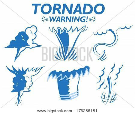 Weather icons set tornado warning clouds wind gusts of rain hail storm. Tornado season in the USA.