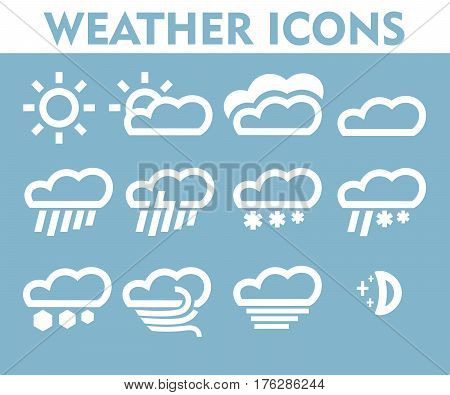 Weather icons set clouds wind gusts of rain hail storm.