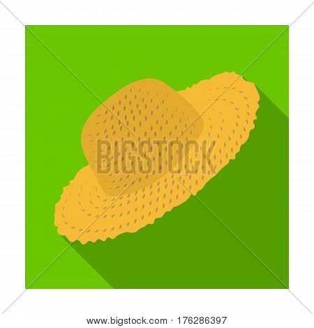 Straw hat for gardener. Headpiece for protection of the sun.Farm and gardening single icon in flat style vector symbol stock web illustration.