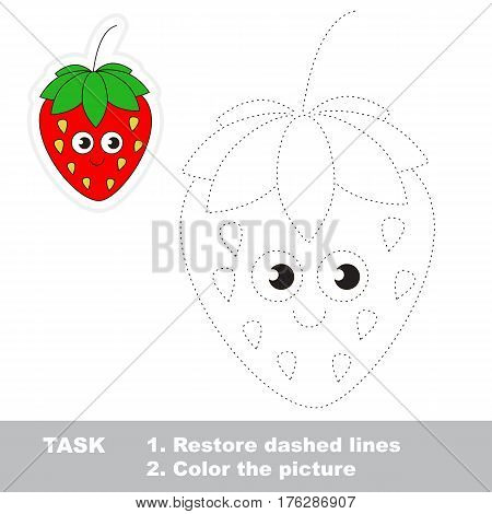 Page to be traced. Easy educational kid game. Simple game level. Gaming and education. Tracing worksheet for Funny Strawberry.