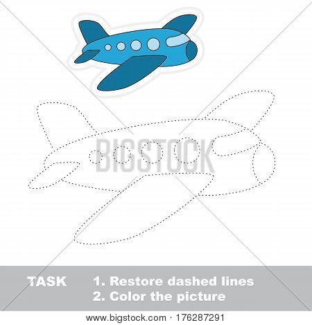 Aircraft in vector to be traced. Restore dashed line and color the picture. Tracing game for preschool children, easy game level.