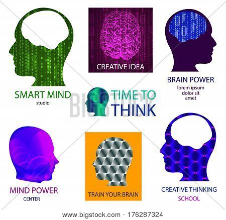 VECTOR set of icons: smart mind studio, mind power center, time to think, creative idea, brain power, train your brain, creative thinking school. Isolated on white logos
