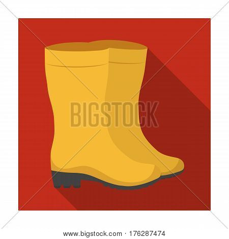 Yellow rubber waterproof boots for women to work in the garden.Farm and gardening single icon in flat style vector symbol stock web illustration.