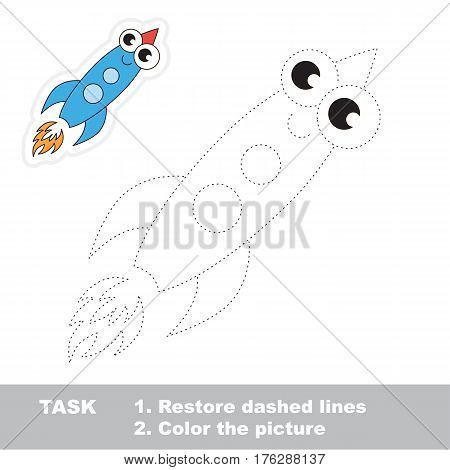 Page to be traced. Easy educational kid game. Simple game level. Tracing worksheet for Toy Funny Rocket