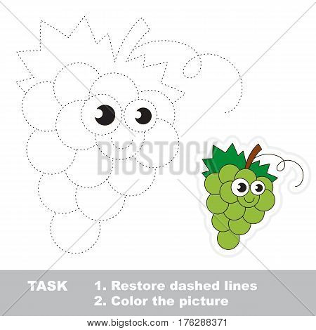 Page to be traced. Easy educational kid game. Simple game level. Gaming and education. Tracing worksheet for White Grapes.
