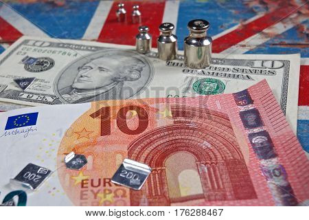 euro banknote and american dollar on British flag