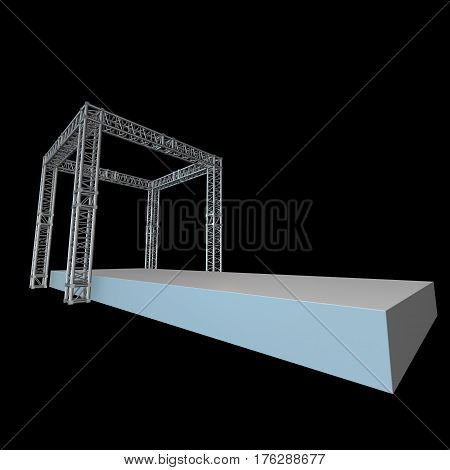 Steel truss girder rooftop construction with outdoor festival stage. 3d render podium on black