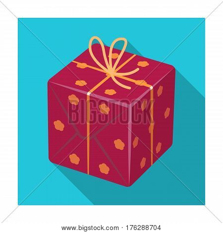 Red box in white peas. Wrapped in a rope with a bow.Gifts and Certificates single icon in flat style vector symbol stock web illustration.
