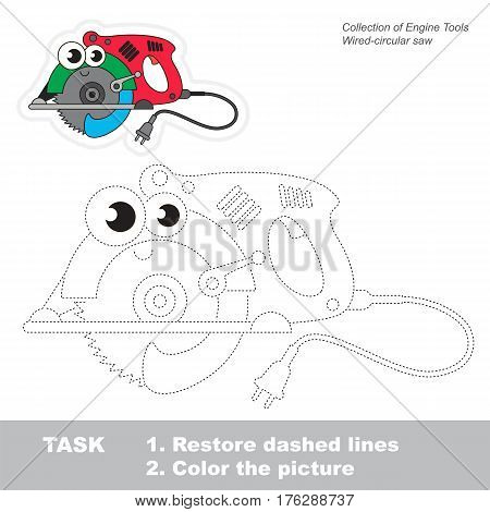 Page to be traced. Easy educational kid game. Simple game level. Tracing worksheet for Funny Circular Saw