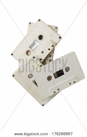 vintage white cassettes tape isolated white background for design on it