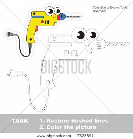 Page to be traced. Easy educational kid game. Simple game level. Object from set of Engine Tools. Tracing worksheet for Drill