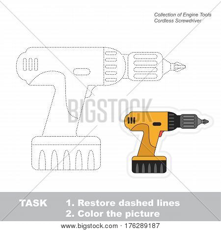 Page to be traced. Easy educational kid game. Simple game level. Object from set of Engine Tools. Tracing worksheet for Screwdriver