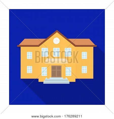 The main entrance of the institution . The school clock above the entrance.School And Education single icon in flat style vector symbol stock web illustration.