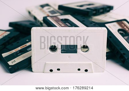 Collection of Cassettes tape isolated on a white background