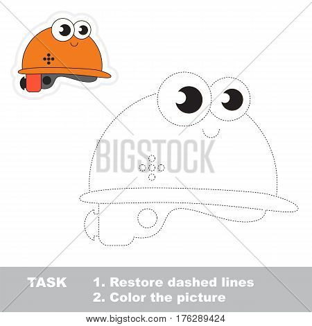 Page to be traced. Easy educational kid game. Simple game level. Tracing worksheet for Funny Helmet.