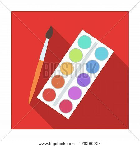 Palette with paints and brush. Paint in school.School And Education single icon in flat style vector symbol stock web illustration.