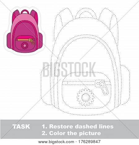 Pink backpack in vector to be traced. Restore dashed line and color the picture. Trace game for children.