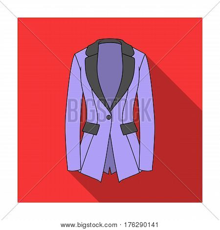 Grey Women s jacket with pockets. Work austere style.Women clothing single icon in flat style vector symbol stock web illustration.