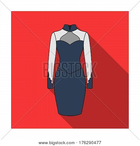Strict two-color female dress to the knee. Dresses working style.Women clothing single icon in flat style vector symbol stock web illustration.
