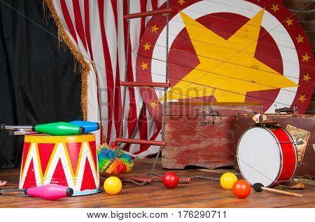 Circus backstage in retro style, drum suitcase. Interior