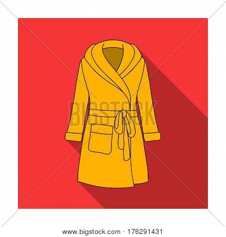 Green lady s gown after bath. Home clothes for women. Woman clothes single icon in flat style vector symbol stock web illustration.
