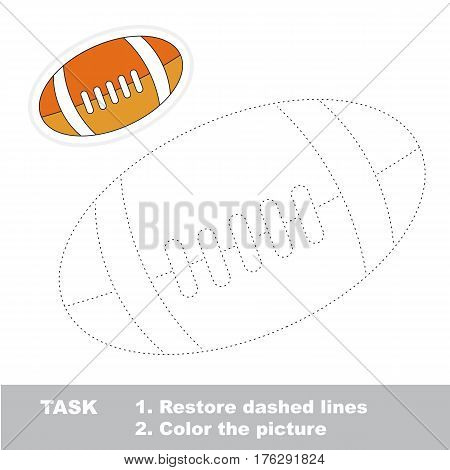 Ball for american football in vector to be traced. Restore dashed line and color the picture. Trace game for children.
