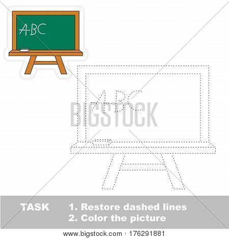 School board in vector to be traced. Restore dashed line and color the picture. Tracing game for preschool children, easy game level.