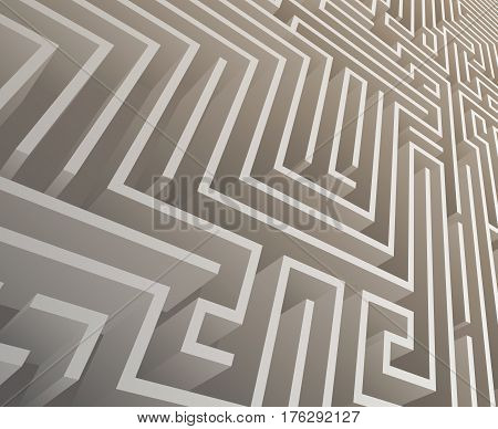 Isometric Intricacy labyrinth maze background design template vector illustration