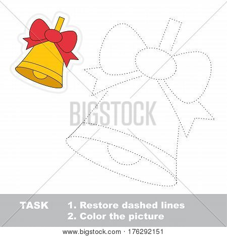 Bell with bow in vector to be traced. Restore dashed line and color the picture. Tracing game for preschool children, easy game level.