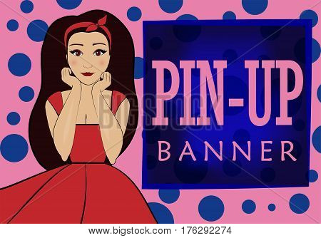 pink and blue banner with space for text in the style of pin-up . Funny brunette woman or girl in a red dress.