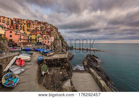 View of Manarola. Manarola is a small town in the province of La Spezia Liguria northern Italy.