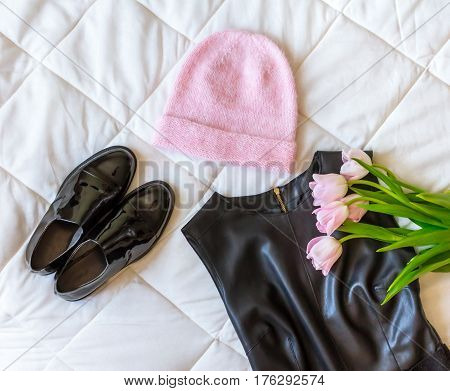 Pink Hat, Black Leather Dress, Black Lacquered Shoes And A Fresh Pink Tulips