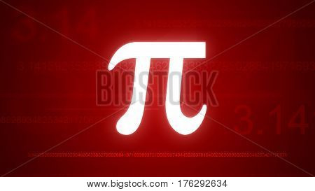 Shining Pi Symbol Red Background, World Pi Day Illustration, 14 March, 3.14, All Pi Formula Numbers