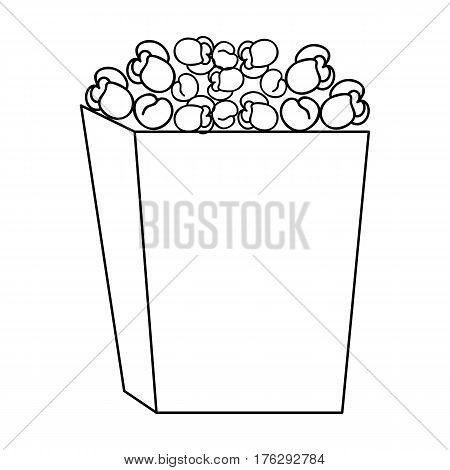 Popcorn in a blue box. Food for an amusement park and a movie trip.Amusement park single icon in outline style vector symbol stock web illustration.