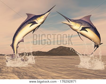 Marlin fishes danse by sunset - 3D render